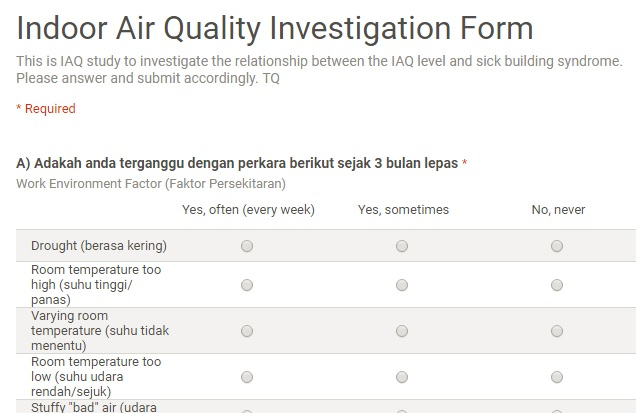 indoor air quality investigation using google drive for environment research