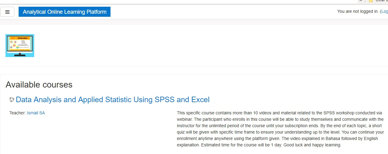 free data analysis SPSS online learning classes course for research