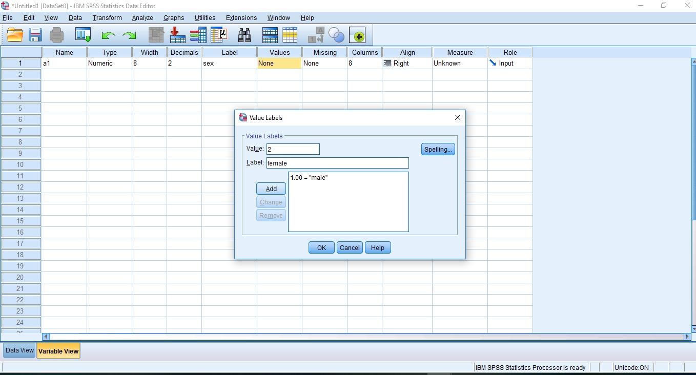 Steps One in Using SPSS Setting Up Your Variables